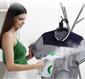 WHITE 750W PORTABLE HANDHELD GARMENT CLOTHES FABRIC STEAMER