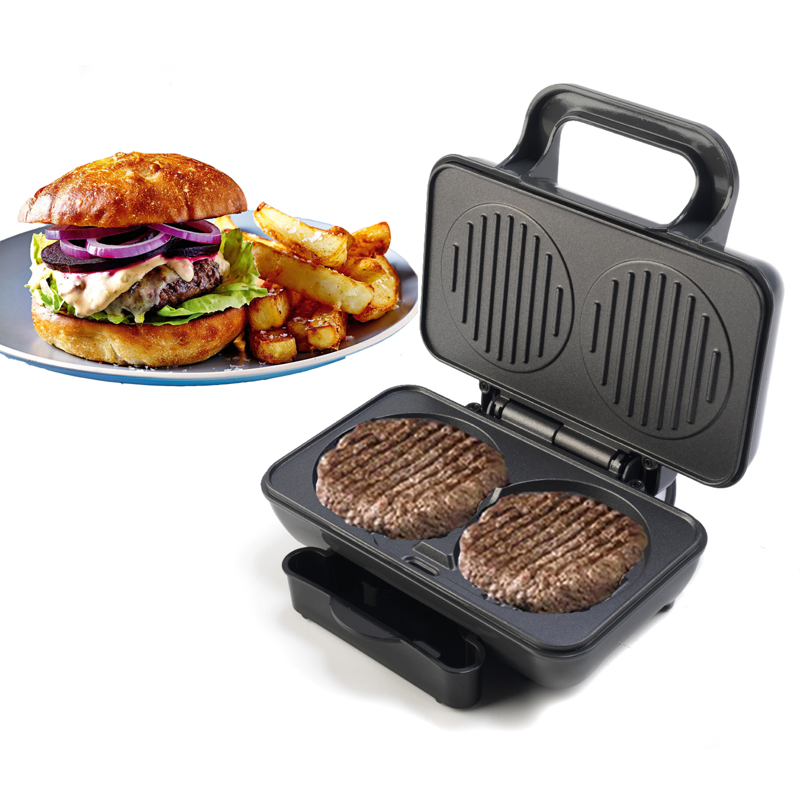 Burger Kitchen: 800W Electric Non-stick Twin Hamburger Burger Patty Maker