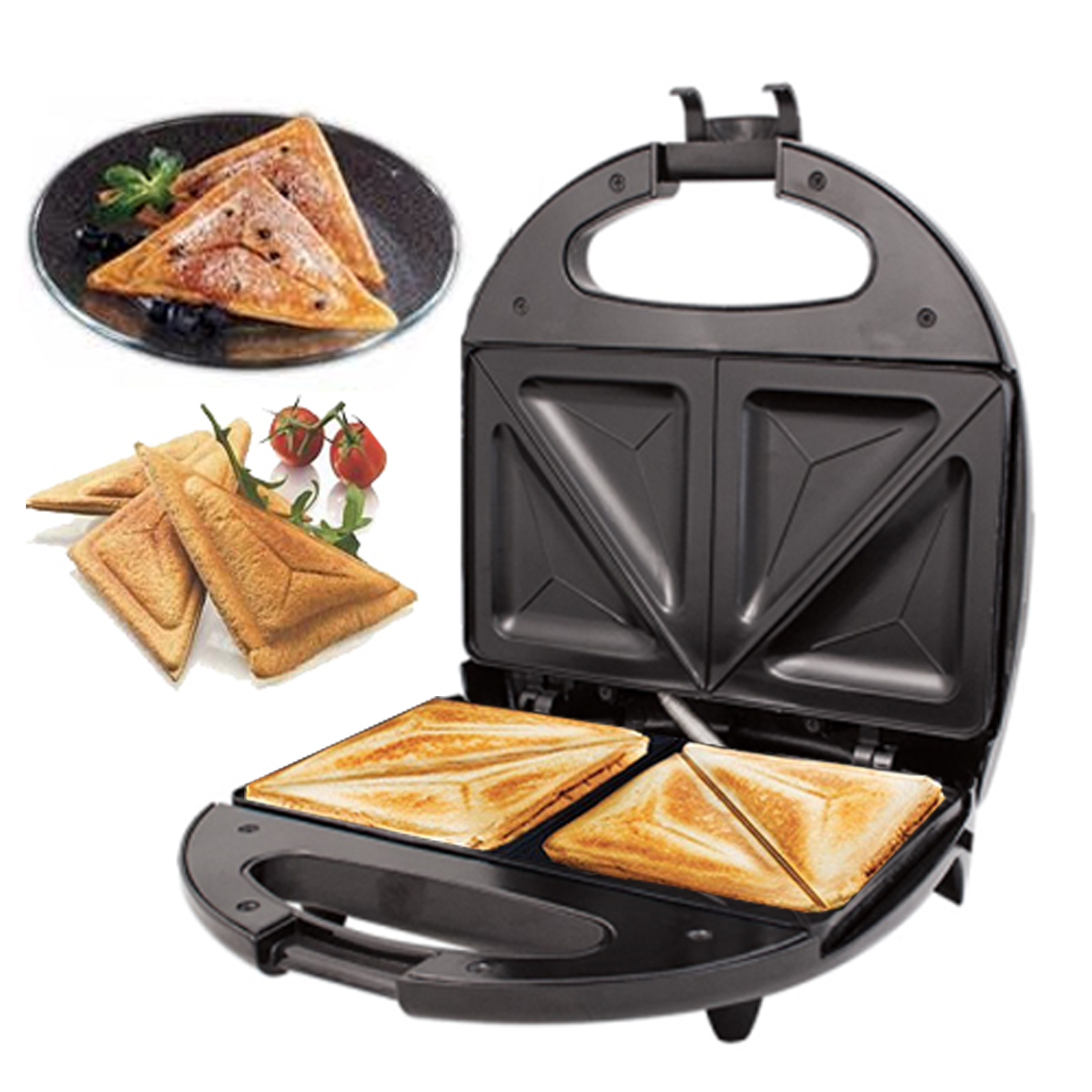 black electric 2 slice sandwich toast toaster maker 700w. Black Bedroom Furniture Sets. Home Design Ideas